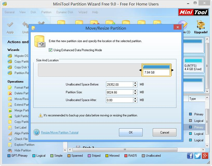 resize partition with MiniTool Partition Wizard step 2