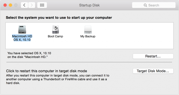 startup mac with disk preferences