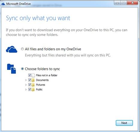 chooes folders to sync