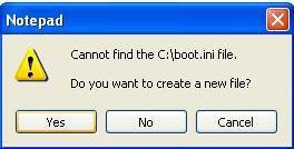 boot.ini file missing