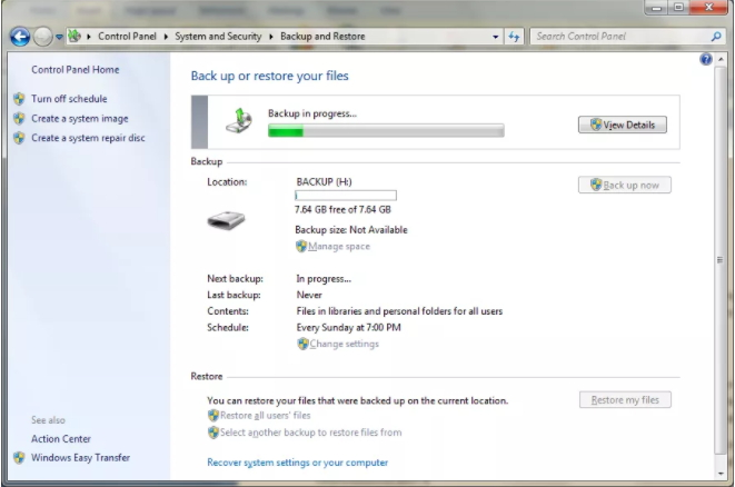 How to Backup Windows 7 with built-in backup tool-step 7