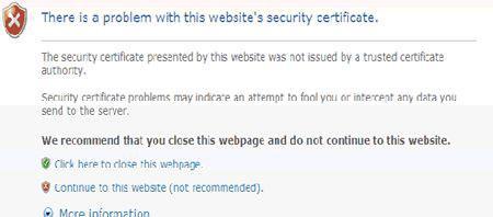 internet explorer certificate error