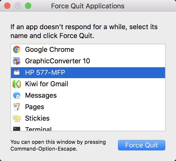 force quit a frozen application