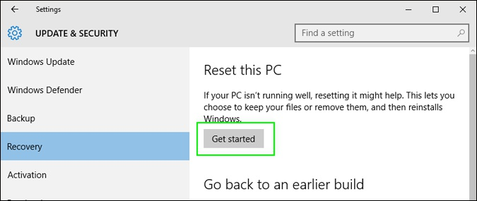 reset this pc