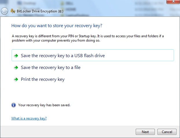save recovery key