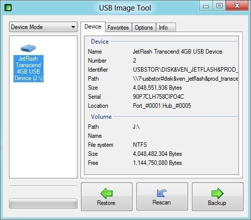 Backup Data with USB Image Tool
