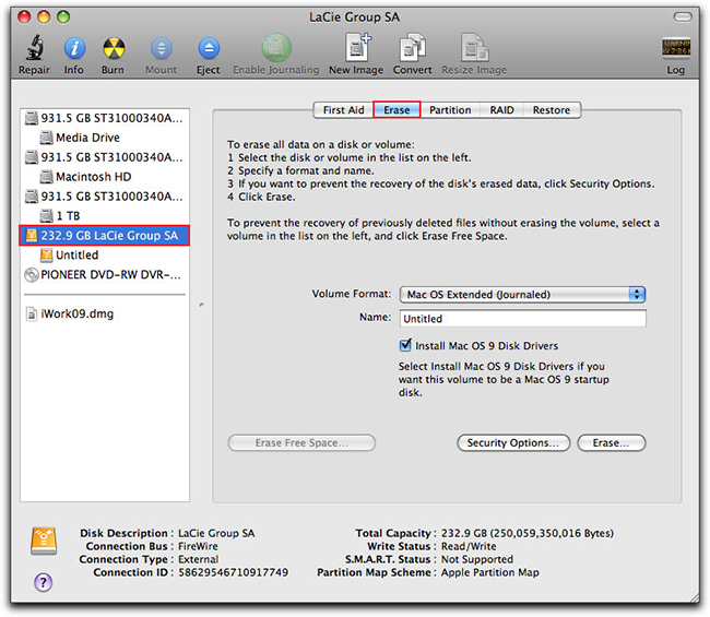 Tips for Using Flash Drive on Mac-formatting erase on Mac