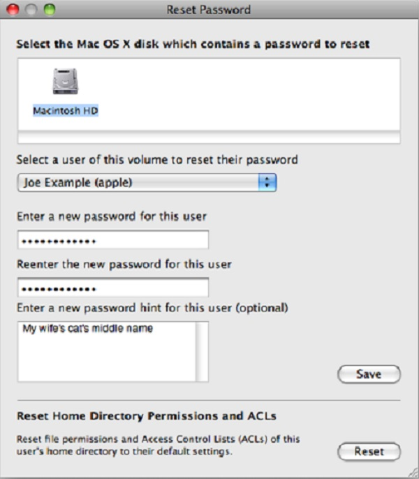 Recuperación de contraseña para Mac