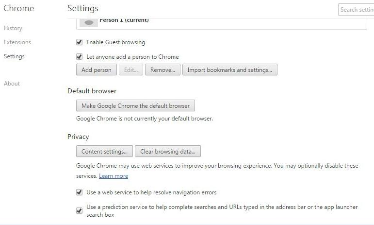 Clear browsing data and cookies from Google Chrome