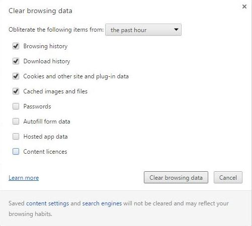 Clear history from  Google Chrome