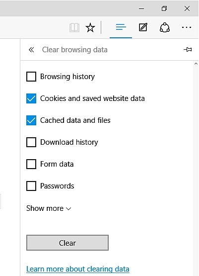 erase cookies in Microsoft Edge
