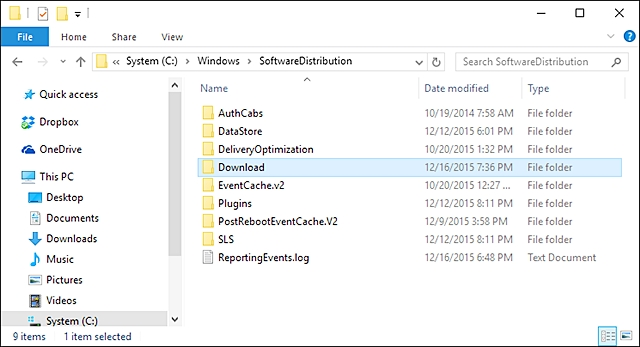 clear windows 10 update cache