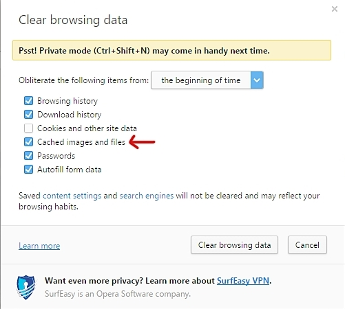 clear web browser cache