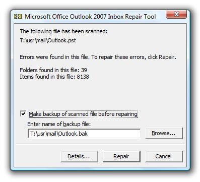 repair corrupt personal folders
