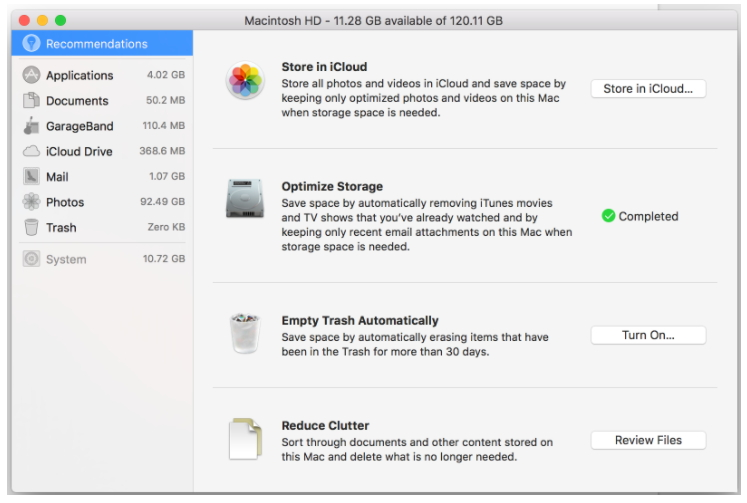 Fix Slow Mac Performance with 10 easy ways-Clear up the Disk Space