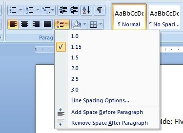 double space in microsoft word