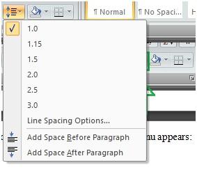 choose line spacing option