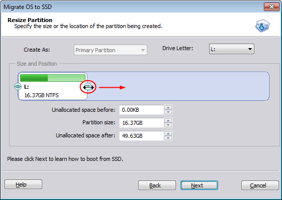 resize new system partition