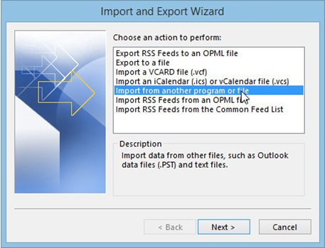 import repaired PST files step 2