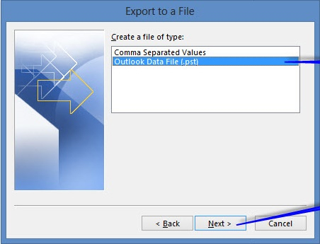 import repaired PST files step 5