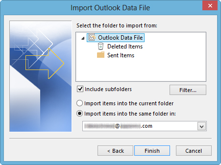 import repaired PST files step 7