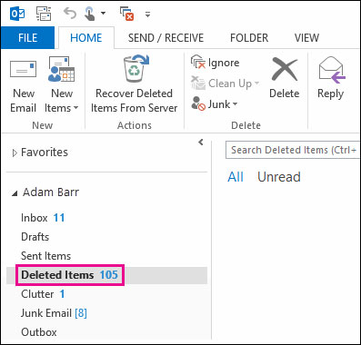 recover deleted tasks in outlook step 1