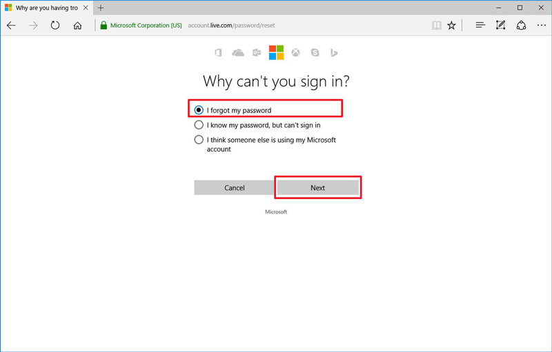 reset outlook password step 2