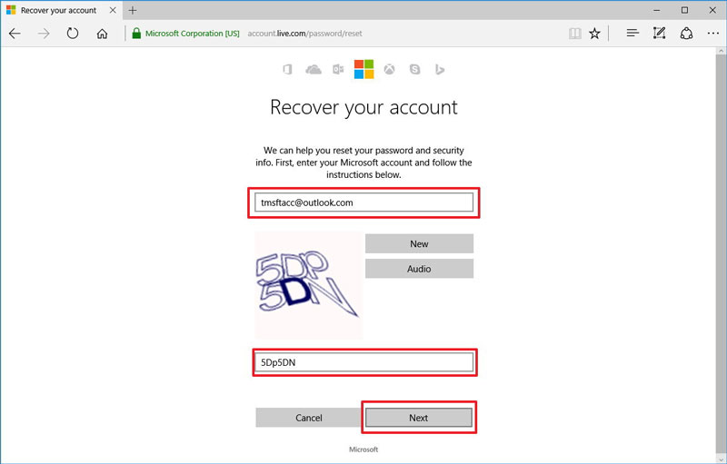 reset outlook password step 3