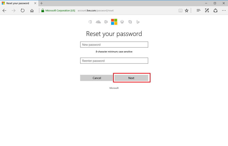 reset outlook password step 1