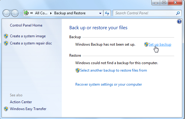 automatic backup in windows 7