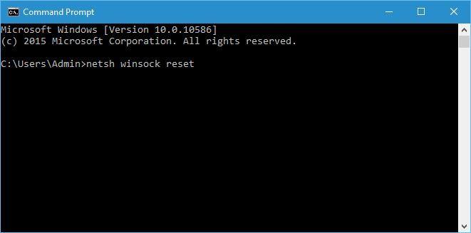 command prompt netsh winsock reset