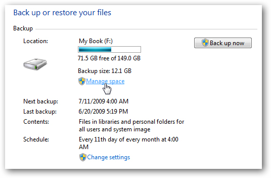 manage backup size