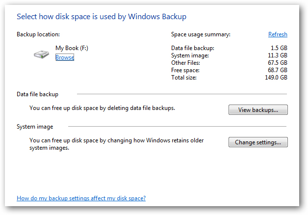manage windows 7 backup size
