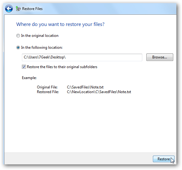 restore windows files from backup