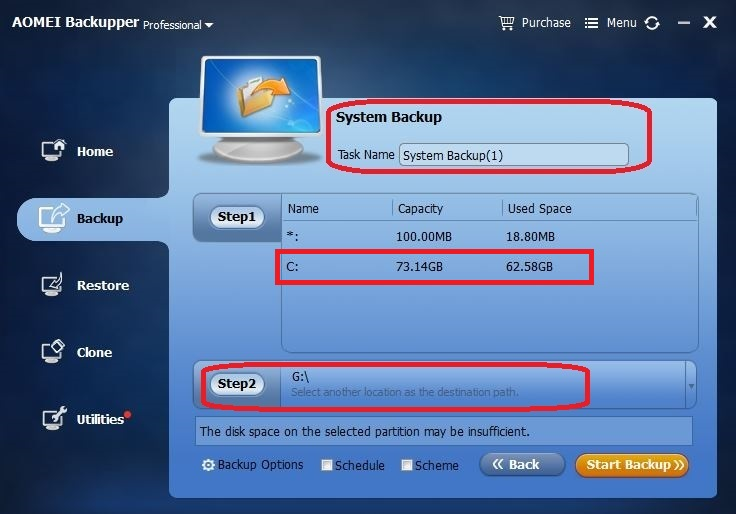 Select USB flash drive to backup computer