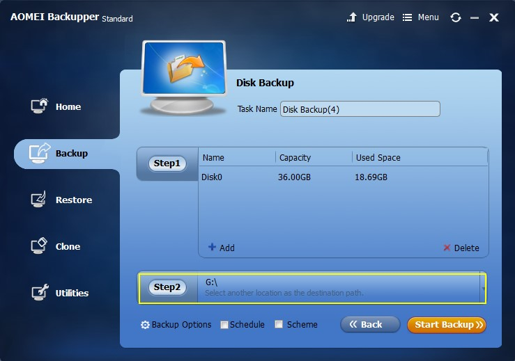 Select a location to store backup hard drive data