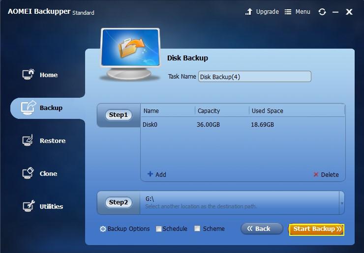 Start hard drive backup