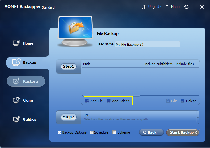 Add folder for file backup