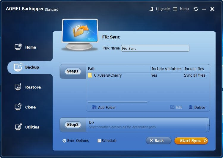 Add file to backup and sync