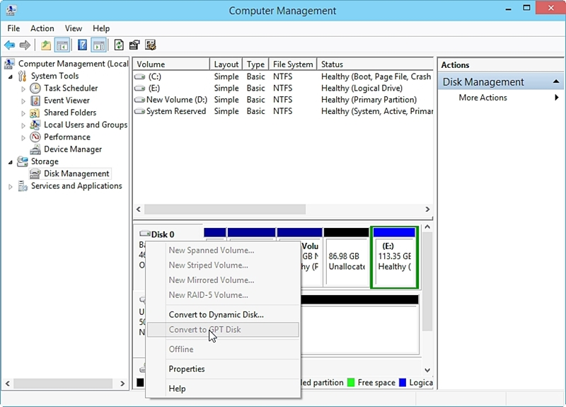 Convert MBR to GPT with Disk Management
