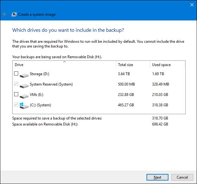 create system image backup