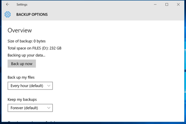 Set up laptop backup to external hard drive