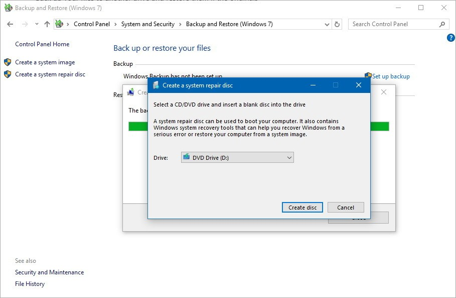 windows 10 home create recovery disk