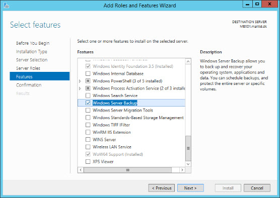 install Windows Server Backup 3