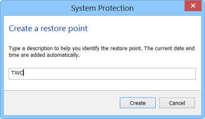 restore point in Windows 10