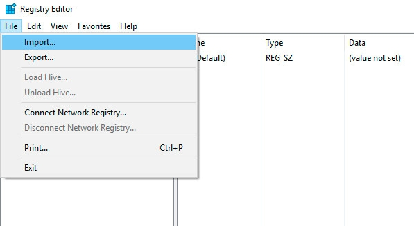 restore registry in windows