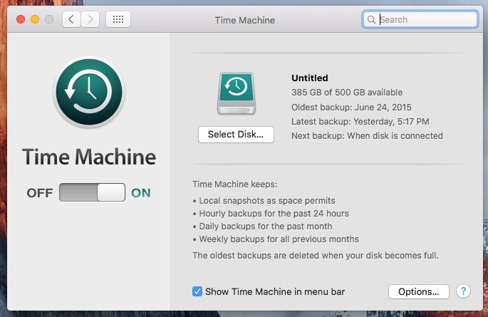backup with time machine