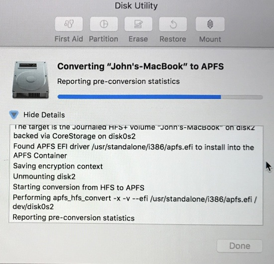convert HFS to APFS with disk utility