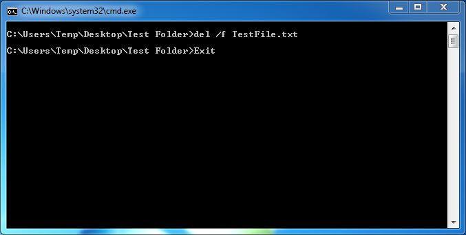 Use a Linha de comando para eliminar um arquivo no Windows