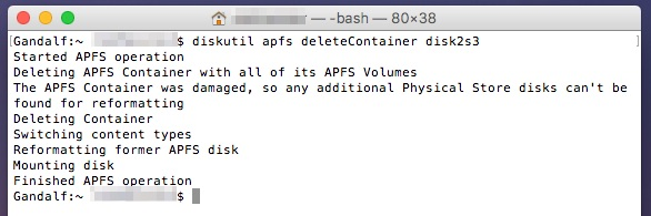 diskutil apfs deleteContainer